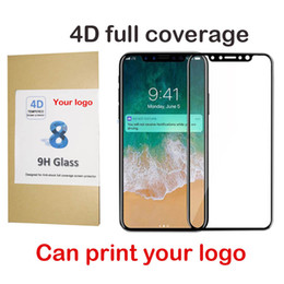 Iphone Front Screen Oem NZ - OEM print logo For iPhone x Tempered Glass Front Screen Protector Film Full Cover 4D Curved hard Edge Film Full Coverage wooden box