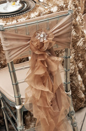 champagne chair organza NZ - 2016 Organza Ruffles Wedding Chair Sashes Vintage Romantic Chiffon Chair Covers Floral Wedding Supplies Luxurious Wedding Accessories 02