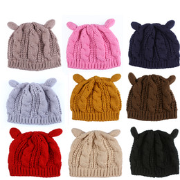 3d1e0d164db046 Cat Ear Ladies Hat Canada - Winter Wool Women Beanies Warm Soft Skull  Knitted Caps Cute