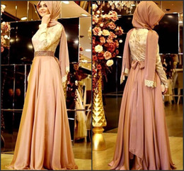 Discount long sleeve chiffon party dress hijab - Arabic Middle East Muslim Long Sleeves Evening Dresses Lace Top Beaded Waistband Chiffon Floor Length Party Prom Dresses