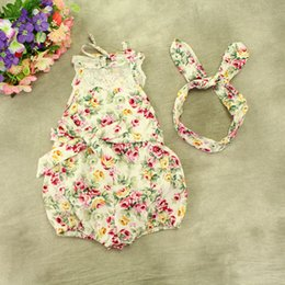 $enCountryForm.capitalKeyWord Canada - INS baby girl toddler Summer clothes 2piece set outfits lace floral romper onesie bloomers diaper covers playsuits Rose + bunny ear headwrap