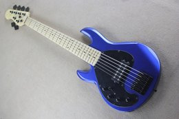 Left Handed Basses Canada - Custom Left Handed Music Man 6 Strings Bass Erime Ball StingRay Metallic Blue Electric Guitar Maple Neck Black Pickguard Black Hardware