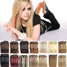 Las ventas calientes 6A 100% Indian Remy Clip de cabello humano en extensiones de cabello 7PCS Full Head Set 16