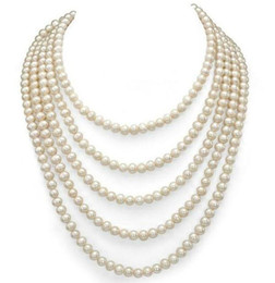 $enCountryForm.capitalKeyWord UK - 7-8mm White Natural Freshwater Pearl Necklace 100inch Single Strand