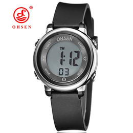 Chinese  Famous Brand OHSEN Kids Boys Sports Cool Digital LCD Quartz Watches 50M Diving Black Dial Silicone Strap Cartoon Running Wristwatch Gifts manufacturers