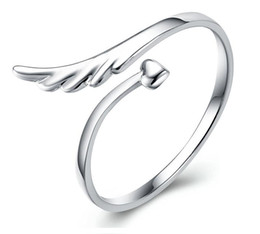 Animal Wings Ring Canada - 10pcs lot Factory direct selling High quality Wedding Ring 925 sterling silver wings shape Ring adjustable size Don't fade birthday gift box