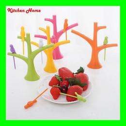 $enCountryForm.capitalKeyWord Canada - Creative Plastic Bird Tree Design Fruit Fork 6PCS Tree Shape Holder Rack Corlorful Eco Friendly Plastic Home Decoration Free Shipping