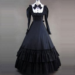 Cotton Night Dress For Ladies Canada - Can be Custom 2015 wholesale Black long Sleeve Cotton 18th Victorian Gothic Lolita Dresses For ladies