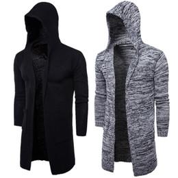 Мужская с капюшоном свитер вязание кардиган свитер куртки тонкий длинный верхняя одежда легкий тонкий тонкий для Моды на Распродаже