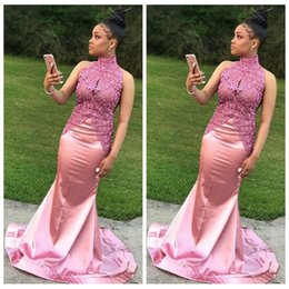 $enCountryForm.capitalKeyWord Australia - Elegant African 2018 Prom Dresses Pink High Neck Sleeveless Appliques Mermaid Style Black Girls Formal Celebrity Red Carpet Evening Gowns