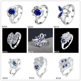 Futaba online shopping - Mixed style high grade fashion blue gemstone silver ring EMGR11 Futaba flower sterling silver ring pieces a
