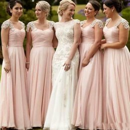 Longues Perles Roses Robe Mousseline Pas Cher-Elegant Blush Pink Chiffon Long Robes de demoiselle d'honneur Beads Lace Ruucé Maid Of Honor Party Gowns A Line Sweep Train Wedding Gowns