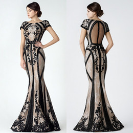$enCountryForm.capitalKeyWord Canada - Saiid Kobeisy 2017 Mermaid Evening Dresses Jewel Neck Lace Applique Beaded Prom Gowns Sweep Train Short Sleeve Formal Red Carpet Dress