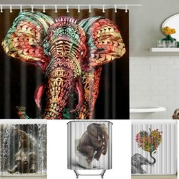 online shopping elephant shower curtain bathroom curtain waterproof polyester animal digital printed shower curtains with hooks