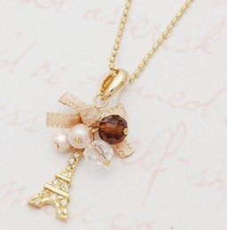 Wholesale Pendant Necklaces Eiffel Tower Pendant With Necklace Golden Plated Chain Fashion Jewelry Chain Necklace