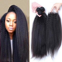 best afro weaves Canada - Best Quality 8A Brazilian Afro Kinky Straight 3Pcs With Lace Top Closures 4Pcs Lot Unprocessed Coarse Italian Yaki Human Hair Bundles