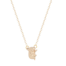 Cute long Chain neCklaCe online shopping - 10pcs Small Cute Koala Bear Branch Shaped Necklace for Women Animal Charm Pendant Gold Silver Simple Long Necklace Bijouterie
