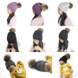 $enCountryForm.capitalKeyWord Australia - Winter Kids Knitted Hats Solid Fur Ball Beanie Boys Girls Skull Cup Baby Hats 8 Colors