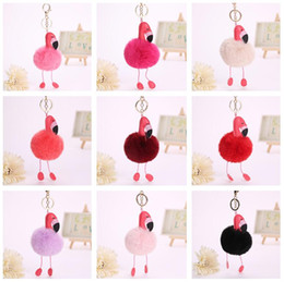 Leather Rings Wholesale Canada - High quality PU leather flamingo pendant artificial fur ball new key chain cartoon bag key ring KR353 Keychains mix order 20 pieces a lot