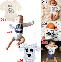 De Algodón De Manga Larga Bodies De Bebé Baratos-INS Cotton Baby Onesie 2016 Otoño Invierno Cartas Impresión de manga larga Casual Boys Girls Rompers Otoño Imprimir Infant Jumpsuit Babies Bodysuits