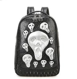 $enCountryForm.capitalKeyWord Canada - Factory sales Brand bags version of skull backpack 3D solid rivet punk Europe and America fashion brand men Backpack Travel Bag
