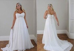 modern casual wedding dress 2019 - Plus Size Casual Beach Wedding Dresses 2017 Spaghetti Straps Beaded Chiffon Floor Length Empire Waist Elegant Bridal Gow