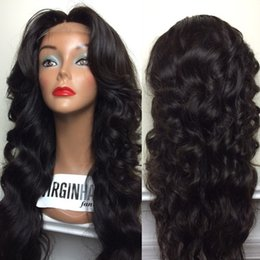wavy long black hair wig Canada - Cheap 150% Density Long Body Wave Full Lace Wig Lace Front Wig Wavy Human Hair Wigs For Black Women