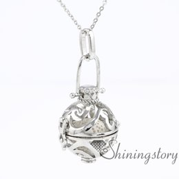 $enCountryForm.capitalKeyWord Australia - ball openwork essential oil necklace perfume lockets wholesale lockets necklaces essential oil diffuser necklaces metal volcanic ston