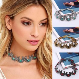 $enCountryForm.capitalKeyWord Canada - Retro Choker Necklace Gypsy Jewelry Antique Bronze Silver Short Chokers Collar Turquoise Stone Women Jewelry Fashion Chain