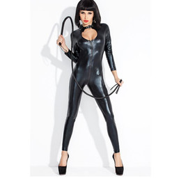 men full bodysuit UK - Wholesale-2020 Hot Sexy Lady Black Leather Latex Catsuits Low Cut With Zipper Open Crotch Elastic Wetlook Bodysuit Bar Clubwear