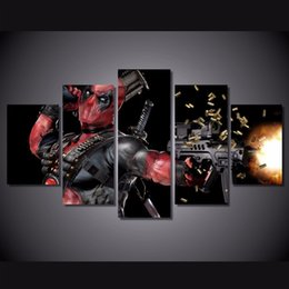 $enCountryForm.capitalKeyWord Canada - 5 Panel HD Printed deadpool mask gun automatic Painting Canvas Print room decor print poster picture canvas Free shipping
