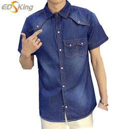 Hommes Denim Coréens À Manches Courtes Pas Cher-Gros-Été 2016 Nouveaux Denim Shirt Men coréenne Fashion manches courtes Turn-Down Collar Camisa Jeans Masculino hommes occasionnels Cowboy Shirts