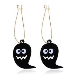 wholesale charms UK - Wholesale jewelry, Halloween Ghost Earrings, Halloween Ornaments, black,Free Shipping