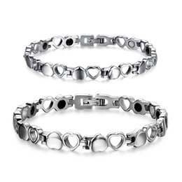 Silver Magnetic Bracelets For Men NZ - Trend Style Couples Heart Magnetic Bracelet Bangles for Lover Women Men Stainless Steel Metal Fashion Jewelry Accessory Christmas Gift B840S