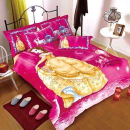 wholesale yellow princess cartoon kids pink bedding set cotton duvet cover bed quilt set bedclothes comforters king queen twin size inexpensive kids bedding