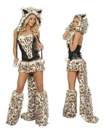 Wholesale-New Sexy Leopard Cat Suits Adult Wolf Costumes With Tail Fancy Cosplay Costume For Women Halloween Party Fur Animals Cats cheap costume halloween wolf leopard from costume halloween wolf leopard suppliers