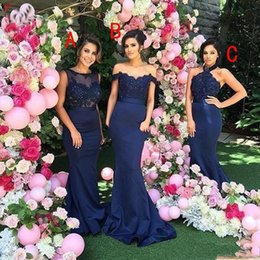 Navy Long Gowns Canada - 2017 Dark Navy Mermaid Bridesmaid Dresses Vintage Lace Top with Beads A Line Long Maid of Honor Gowns Formal Country Style Prom Dress
