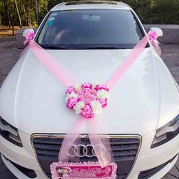 Wedding Car Decorative Flowers Wreaths Artificial Decoration Sets Silk Flower Pearl Garland Accessories