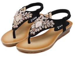 Flat Gem Backs NZ - Plus Size 35 To 40 Bohemian Gem Rhinestone Sandals Women Flats Beach Shoes Handmade 2 Colors