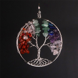 chip pendant NZ - Eternal Various Rainbow Wisdom Life Of Tree Natural Crystal Stone Chip Handmade Multicolored Circle Lucky Charm Pendant for Necklace Jewelry