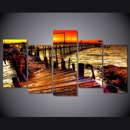 $enCountryForm.capitalKeyWord NZ - 5 Pcs Set Framed Printed Sunset Bridge Landscape Painting on canvas room decoration print poster picture canvas Free shipping ny-5017