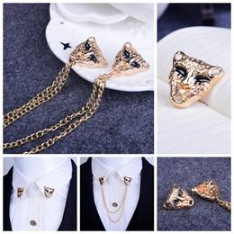 $enCountryForm.capitalKeyWord NZ - Retro leopard head brooch Shirt West decorations Tassel brooch medal Personality brooch With a chain collar pin