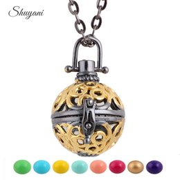 Pregnancy Chime Pendant Australia - Alloy Statement Necklaces Hollow Cage Music Chime Ball Baby Caller Locket Pendant for DIY Pregnancy Pendant Necklace
