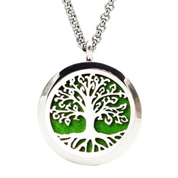 Ladies Perfume Wholesale Canada - Lasperal Hollow Tree Life Stainless Steel Essential Oil Diffuser Necklace Perfume Lockets Necklace Gifts For Women Ladies