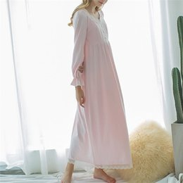 Longue Chemise De Nuit En Dentelle Rose Pas Cher-Autumn Rose Sexy long sommeil Lounge Cotton Sleepwear Femme Accueil Robe en dentelle Princesse Vintage Nightgown femmes Sleeping Dress # L8