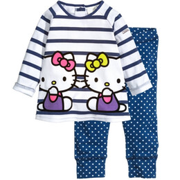 T-shirt À Pois À Manches Longues Pas Cher-Kitty Filles Vêtements Ensembles manches longues T-shirts Stripe T-shirt à pois enfants Pantalons Collants Filles Blouse Robes Tenues