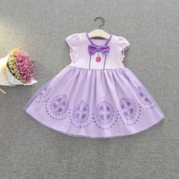 Barato Saia De Renda Boutique-Baby Girls Halloween Sophia Dress Princess Party Cosplay Costumes Lace Bow sem mangas Bubble Saias Boutique Vestuário para crianças