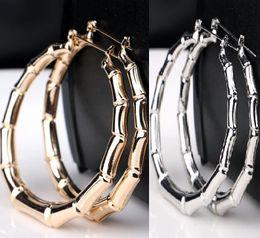 Оптовая Серия 12 пар Большой золотой серебряный тон бамбука баскетбол жены серьги стержня мотаться обруч круг серьги