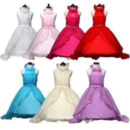 Leopard shipping online shopping - PrettyBaby new arrival summer kids girls princess dress colors sleeveless D flower pearl belt dress