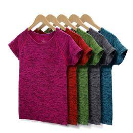 Женская профессиональная рубашка для йоги для фитнеса, спортивная футболка, тренажерный зал Quick Dry Sweat Breathable Exercises Short Sleeve Tops $ 18 без трека